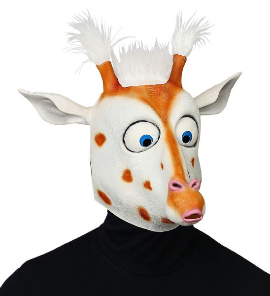 BIG EYES GIRAFFE FULL HEAD MASK WITH PLUSH HAIR Latex Mask Fancy Dress